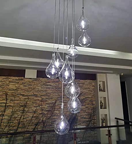 Modern LED Chandelier with 9 Clear Glass Dimmable Raindrop Lamp Adjustable Hanging Glass Pendant Light with G4 LED Bulbs Included, 27W 4000K Nature White, Chrome Finish
