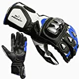 PROANTI Guantes para moto Racing Pro – Azul Talla L
