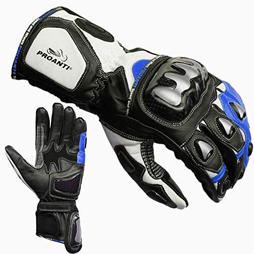 PROANTI Guanti da moto Racing Pro da moto, blu, taglia M