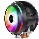 upHere CCF150ARGB - Raffreddatore CPU '4 dissipatori di calore, 2 x 120 mm, ventola PWM, 5 V, 3 pin indirizzabile RGB LED