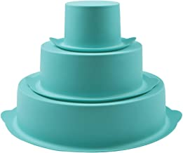 Webake Round Cake Pan Set Silicone Cake Molds Baking Pans for 3 Tier Cake Layer Tin, 8 Inch, 6 Inch, 3 Inch for Birthday, Wedding Anniversary, Halloween, Christmas Party