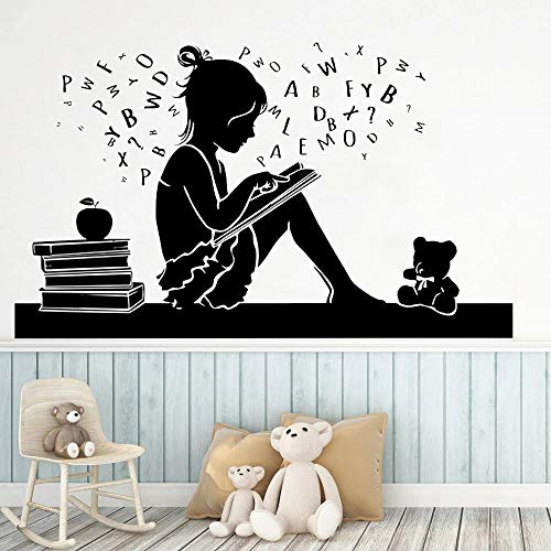 WERWN Libros Pegatinas de Pared Escuela Aprendizaje Oso Lectura Libros Vinilo Pared calcomanías Biblioteca librería decoración del hogar
