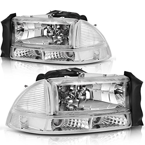 AUTOSAVER88 Headlight Assembly for 97-04 Dodge Dakota 98-03 Dodge Durango Headlamp Replacement with Park Signal Lamp Crystal Housing Clear Lens