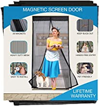 Magnetic Screen Door Heavy Duty, Fits Doors 35 x 80, 36 x 80, 36 x 82, 38 x 80, 38 x 82 inches, Mosquito Net with Magnets Hands-Free Reinforced Mesh Curtain with Full Frame Magic Tape, Black