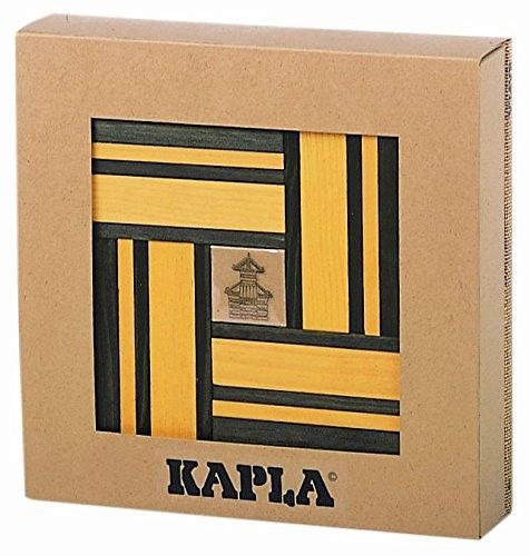 KAPLA 9000107 Lot de 40 Plaquettes en Bois Jaune/Vert + Livre