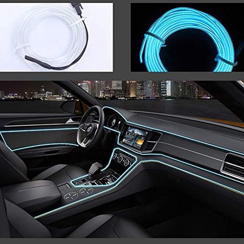 San Jison Auto-Dekorationen, EL-Draht, 5 m, LED, flexibel, weich, Leuchtdraht, Lichter, Neonleuchtend, Weihnachtsdekoration, DC 12 V, für Auto, 360 Grad Beleuchtung (Eisblau)