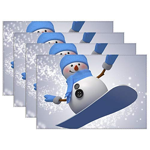 Yilooom Snowman Playing Skateboard Set van 4 hittebestendige Stain Isolation Place Mats Anti-Skid Wasbaar Canvas Table Placemats for Chistmas Holiday Decor 12 x 18 inch