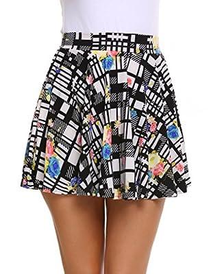 Zeagoo Womens Basic Versatile Flared Skater Skirt Printed Pleated Skirt