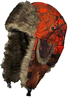 Orange Real Tree Camouflage Hunter/Trapper Winter Cap (One Size)