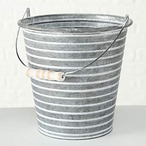 Objektkult Deko Pflanzeimer Bando mit Henkel (Eimerform) aus Zink, Maße: 22,5 cm Höhe Ø 22,5 cm, Pflanzgefäß im romantischen Landhaus- / Shabby-Look, Zinkeimer als Deko oder zum Bepflanzen