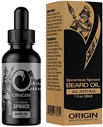 Origin Beard Oil Spruce All Natural Made in USA Stimulates Growth Softens Hair Reduces Itch product image