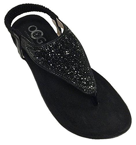 OOG Sommer Sandale Strassstein Damen Schuh Sandaletten Antirusch gepolsterte Sohle (37, Schwarz)