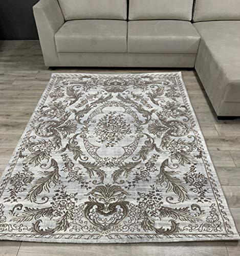 Flycarpets Luras - Medallón para alfombra moderna, color marrón, gris y beige, 290 x 200 cm