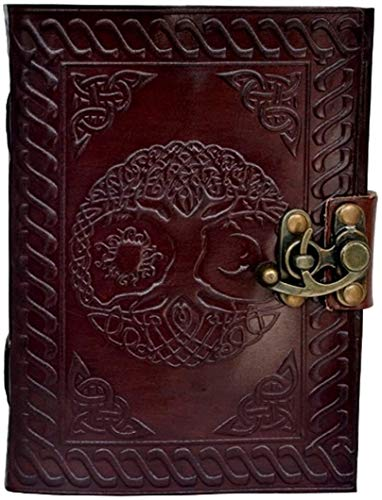 Leather Journal Handmade Sun Moon Embossed Celtic Tree of Life Writing Notebook Sketch Book Office Diary Notepad Portable Vintage Antique 5x7 inch Gift for Students Men and Women