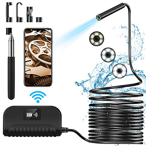 Crowndy Wireless Endoscope,IP68 Waterproof WiFi Borescope Inspection Camera 5.5mm 2MP Industrial Endoscope Camera Motor Engine Vehicle Pipe Wireless Snake Camera for Android iOS Phones Tablet(16.5Ft)