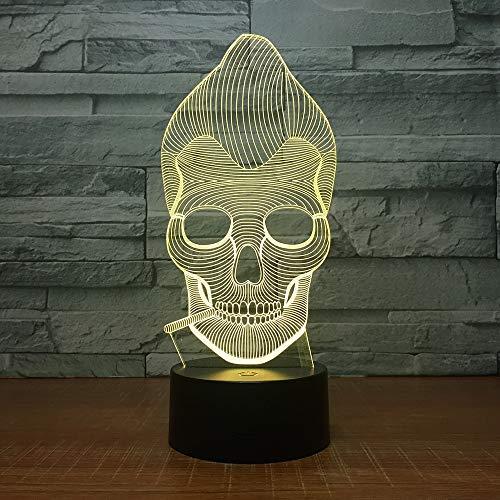 QAZEDC 3D nachtlampje aap schedel roken 3D LED kleur nachtlampje lamp meerkleurig Bulbing licht acryl 3D hologram illusie bureaulamp (gratis verzending)