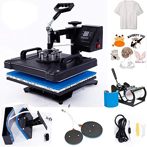 "Heat Press Machine 12""X15"" for Tshirt Combo 5-in-1 Digital Heat Press Transfer Sublimation Swing-Away Power Press Machine for Hat/Mug/Plate/Cap/T-Shirt/Bag, Black"