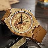 MOLINB Wooden Watch Holz Bambus Armbanduhr Herren Handgelenk Quarz Kork Elefant Gravierte Uhren...