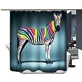 Harson und Jane Duschvorhang, Digitaldruck, wasser- & schimmelresistent, Duschvorhang, Badematte, 95-zebra, 180cm(wide)×220cm(high)
