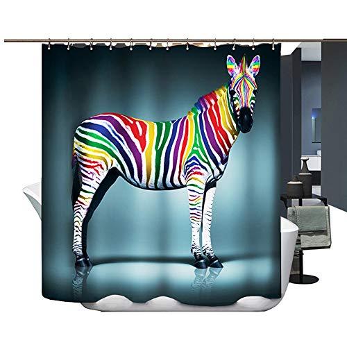 Hason&Jane Impression numérique imperméable rideau de douche Taille 180*180 180*200 (180*200, zèbre)
