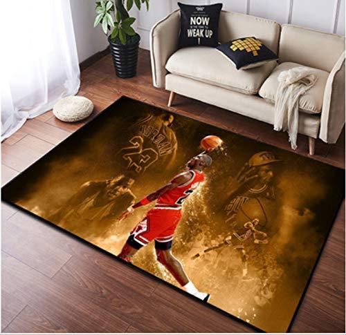 zzqiao Tappeto Europeo E Americano personalità in Stile Creativo NBA Basket Marrone Giordania Soggiorno Camera da Letto Comodino Camera per Bambini Tappetino Antiscivolo 80 * 120 Cm