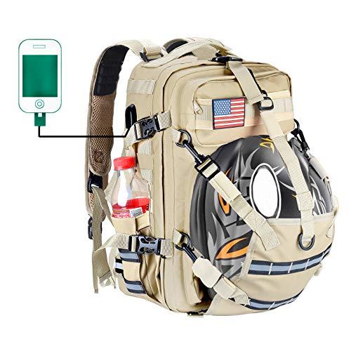Waterproof Motorcycle Helmet Backpack Outdoor Sports Shoulder Bag Motorcycle Backpack for Woman with USB Port (20L)