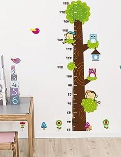 Yosoo Gráfico de crecimiento overol Dibujos Animados Árbol Medidor de altura calcomanía de pared decoración Vinilo calcomanía removible decoración del hogar