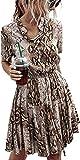 Longwu Vestido Casual Acampanado con Estampado de Cuadros y Cintura elástica de Manga Corta para Mujer con Bolsillo Serpiente Caqui-S