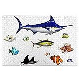 KIMDFACE Rompecabezas Puzzle 1000 Piezas,Acuario,Diferentes Especies de Peces en Pose,pez Espada,pez Payaso,Hawaiano,Aguas del Pacífico,Fauna,Decorativo,Puzzle Educa Inteligencia Jigsaw