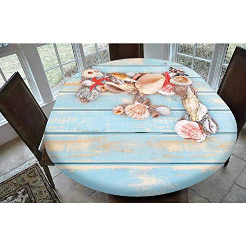 Letter F Polyester Fitted Tablecloth,Coastal Image with Soft Color Sea Related Animal Shells Alphabet Decorative Oblong Elastic Edge Fitted Table Cover,Fits Oval Tables 68x48 Pale Blue Ivory Dark Cor