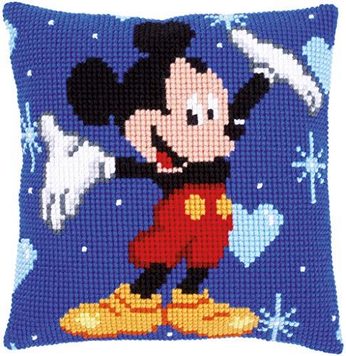 Vervaco Cojín de Punto de Cruz Mickey Mouse, acrílico, Colores Variados, 8 x 1 x 8 cm