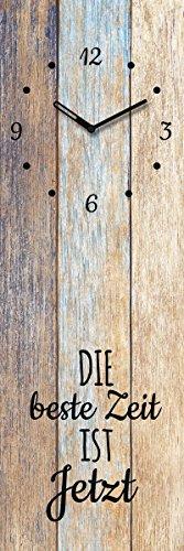 Wanduhr aus Glas, Spruch: Die Beste Zeit ist Jetzt, Holzoptik, 20x60 cm von Eurographics