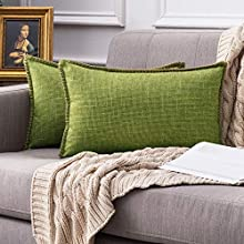 MIULEE 2 Piezas Funda de Cojines Moderna de Lino Cruzado Decoracion de Estilo de Casa Rural Funda de Almohada Decorativa para Sofa Cama Hogar de Rectangulares Cojín 30 x 50 cm Verde