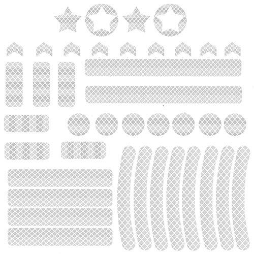 TOCYORIC Reflektoren Aufkleber Sticker Reflektor Sticker Fahrrad Reflexfolie Set zur Sicherungs-Markierung von Kinderwagen Fahrrädern Helmen mit Stickern selbstklebend und hochreflektierend (White)