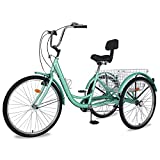 """Slsy Adult Tricycles 7 Speed, Adult Trikes 20/24 / 26 inch 3 Wheel Bikes, Three-Wheeled Bicycles Cruise Trike with Shopping Basket for Seniors, Women, Men. (Light Sea Green, 24"""" Wheels/ 7-Speed)"""