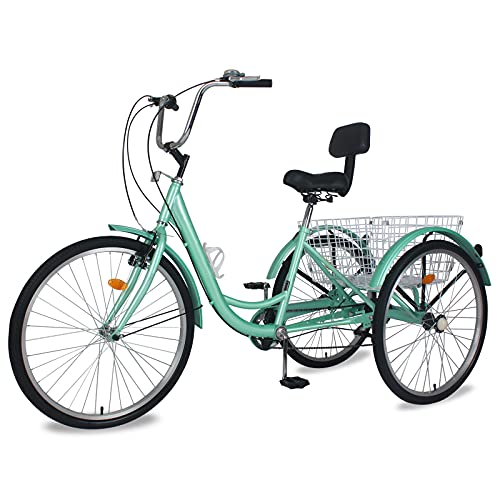 """Adult Tricycle 7 Speed, Three Wheel Bikes for Seniors, Adults, Women, Men, 20/24/26-Inch Wheels, Cargo Basket, Multiple Colors (Green, 24"""" Wheels/ 7 Speed)"""