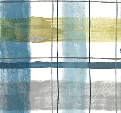 ecosoul Nappe en toile cirée Rayas - Rayas - Bleu - Jaune - Gris - Blanc - Vendu au mètre - Lin - Largeur : 140 cm - Longueur au choix (100 cm)