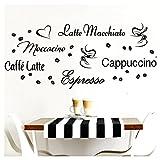Grandora Wandtattoo Kaffeesorten I schwarz Kreativset I Kaffee Kaffeebohnen Kaffeetasse Küche...