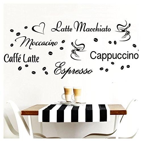 Grandora Wandtattoo Kaffeesorten I schwarz Kreativset I Kaffee Kaffeebohnen Kaffeetasse Küche Esszimmer Aufkleber Wandaufkleber Wandsticker Sticker W3047