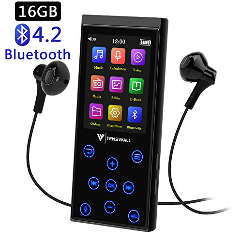 16GB Bluetooth MP3 Player, tragbarer störungsfreier Hi-Fi-Musikplayer mit FM-Radio/Voice-Recorder, 2.4 Zoll Bildschirm, Speicher Erweiterbar bis 128 GB (Kopfhörer im Lieferumfang enthalten)