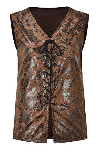 Bslingerie® Herren Steampunk Gothic Faux Leather Kostüm Weste (4XL, Lange braune Weste)