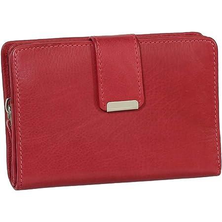 RFID Damen Leder Geldbörse Damen Portemonnaie Damen Geldbeutel - Farbe Rot - Geschenkset + exklusiven Ledershop24 Schlüsselanhänger