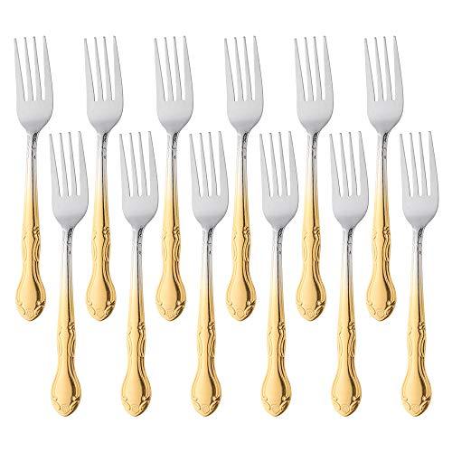QIBOORUN Stainless Steel Kitchen Dinner Forks 12-Piece Dinner Fork Set 7.3-inch Stainless Steel Forks Classic Flatware Silverware Sets Cutlery Utensils Dinnerware with Flower Edge -Gradient Gold