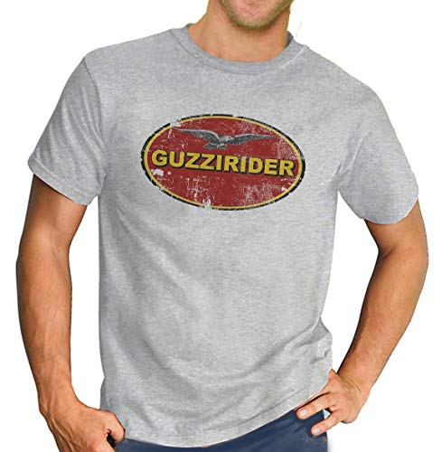 Moto Guzzi Rider Italian Classic T-Shirt Biker Motorcycle Retro Grey