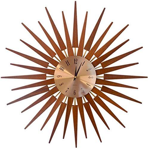 Reloj de pared Starburst grande de 24 pulgadas,reloj de pared con diseño de rayos solares de color dorado,creativo reloj de pared decorativo de madera maciza,relojes de pared de decoración de cuarzo m