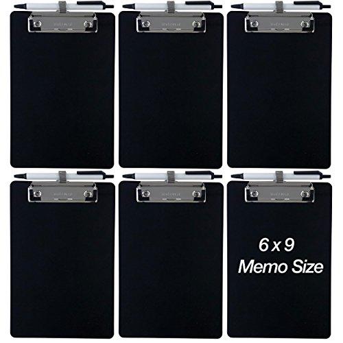 Trade Quest Small Memo Clipboard 6'' x 9'' Pen Holder Clip Plastic (Black) (Pen Included) (Pack of 6)