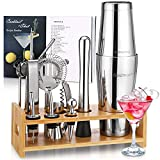 Set de shaker à cocktail pour barman, Godmorn 16Pcs Boston Shaker Bar Tool Set, 304 Stainless Steel Martini Shaker with Bamboo Stand and Recipe Book, Drink Mixer Set for Home And Bar, Barware Set.