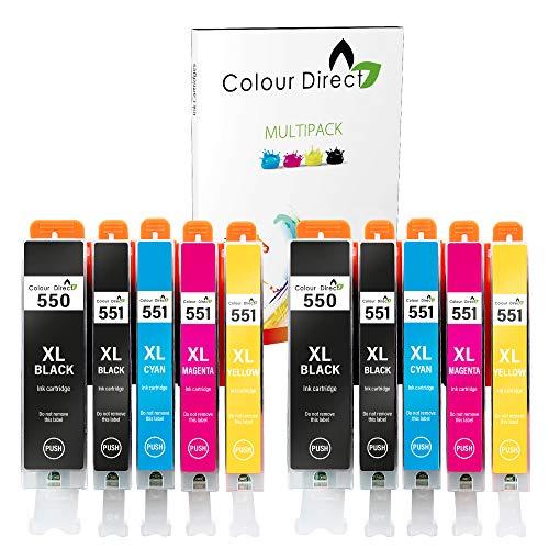 Colour Direct PGI-550XL CLI-551XL Reemplazo de Cartuchos de Tinta compatibles para Canon MG5650 MG6450 IP7250 MX814 iX6850 MG5550 IP7200 MG5600 MX920 MG5400 MG6450 MG7500 MX725-2 Juegos