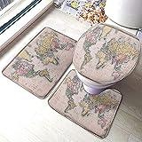 Alfombra de baño de mariposas acuarela de primavera voladora rosa amarillo naturaleza dibujado baño Mat Set 3 piezas alfombra asiento de inodoro cubierta Mat antideslizante Pad-3 pcs_Multi-832