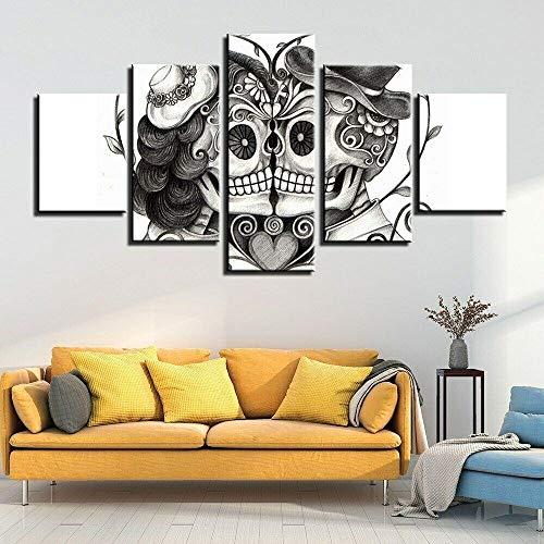 45Tdfc Amanti del Cranio Amore della Coppia Quadro Personalizzato con Foto su Tela Diviso su 5 Pannelli in Legno- Idea Regalo Dimensione Quadro,A,20x35x220x45x220x55x1